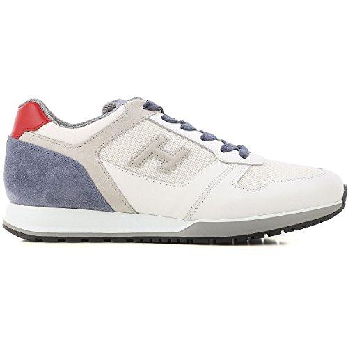 Hogan Sneakers Uomo H321 in Camoscio Tessuto e Pelle MOD. HXM3210Y851II7940F Bianco Blu e Rosso