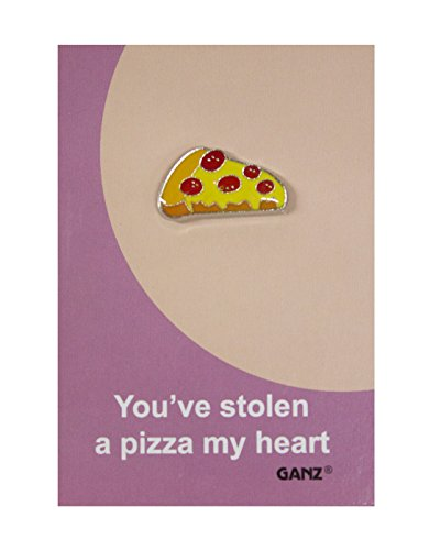 Lapel Pin Hat Pin Tie Tack with Colorful Enamel and Funny Pun- Pizza Heart