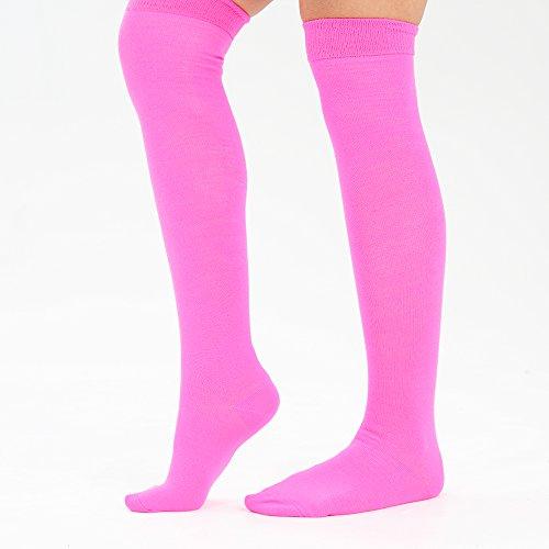 Couleurs 28 Haut 4 Fuschia En Chaussettes Eesa Taille Femmes Uk Pour Adam 6½ Genou Rose Sur Bas amp; Coton Uni Cuisse Le w6qFfgZ