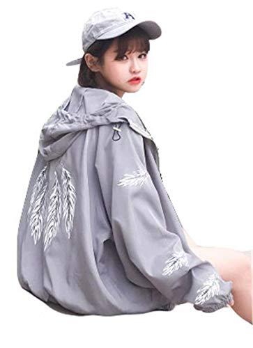 Con Primaverile Cerniera Fashion Lunga Casual Cute Eleganti Giubbino Hipster Grau Cappuccio Sciolto Autunno Outerwear Pattern Manica Giacca Donna Stampato Cappotto Chic qaXBW