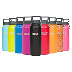 Healthy Human 21 oz Water Bottle - Cold 24 Hrs, Hot 12 Hrs. 4 Sizes & 12 Colors. Double Walled Vacuum Insulated Stainless Steel Thermos Flask with Carabiner & Hydro Guide. Color: Black Tie
