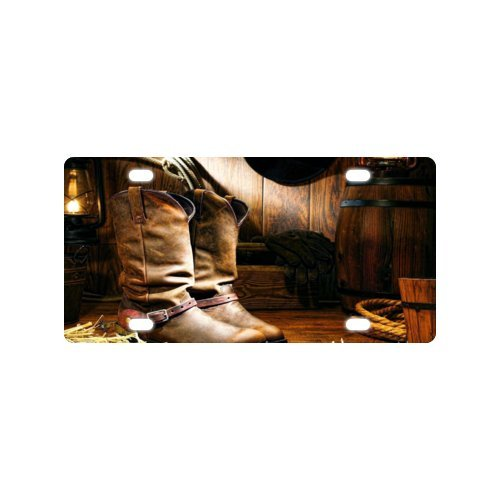 Metal License Plate of Car with Cowboy boots and hat Design Sale for cheap,Car Tag - 6 X 12 inch ()