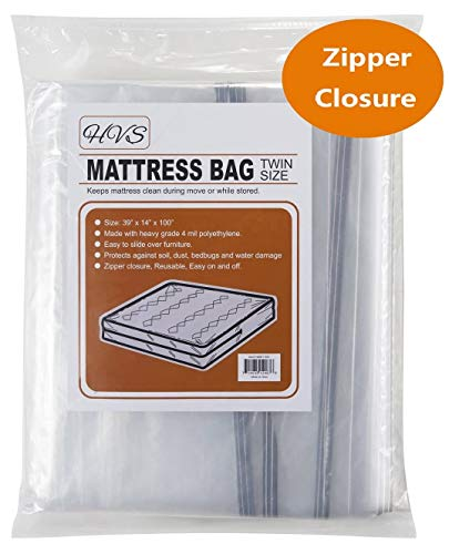 (HVS Mattress Bags for Moving & Storage, Mattress Storage Bag, Plastic Mattress Bags for Moving with Zipper Closure, Mattress Protector for Moving (Twin/Twin XL))