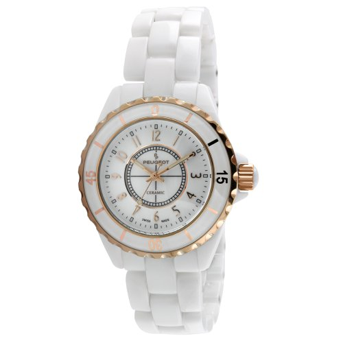 Peugeot Women's PS4895RG Swiss Ceramic White Sport Bezel Rose-Gold Accent Watch