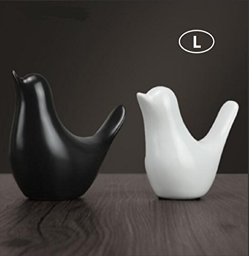 YYHSND Simple Modern Black and White Bird Ceramic Ornaments Nordic Creative Home Bookcase Soft Decorative Crafts Pair Crafts Jewelry (Color : L 12X11X6CM) from YYHSND