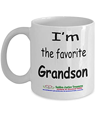 I'm The Favorite Grandson White Mug Unique Birthday, Special Or Funny Occasion Gift. Best 11 Oz Ceramic Novelty Cup for Coffee, Tea, Hot Chocolate Or Toddy
