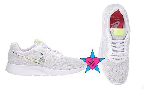 Women Glitter Crystal Bling White Lace Nike Women's Tanjun Wedding Sneakers by Eshays