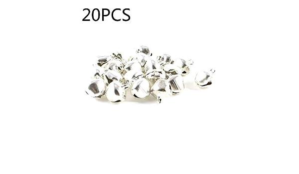 SALAKA 20pcs Mini Campanas de Metal Plateadas Peque/ñas cascabeles Lindas para decoraci/ón de Navidad