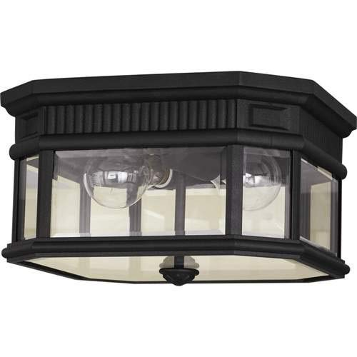 Feiss Cotswold Lane Black 2-Light Outdoor Flush Mount Light OL5413BK ()