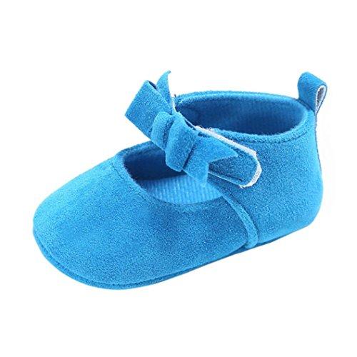 (0 ~ 18 Meses)Niño pequeño Koly Crib Zapatos Zapatos suaves antideslizantes de la flor del bebé Zapatillas de deporte (12, Rosado) Azul