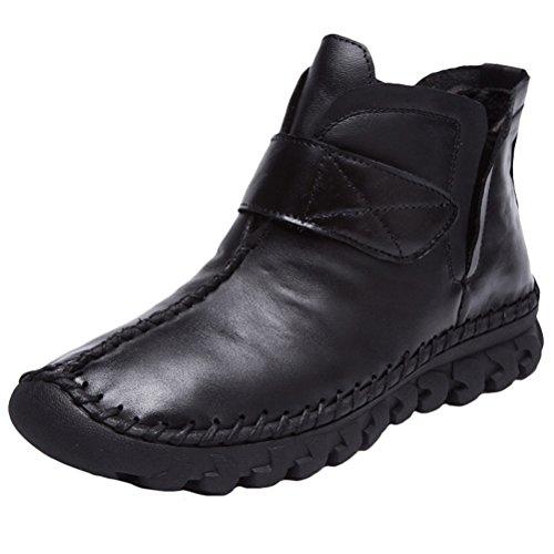 MatchLife Damen Vintage Leder Plissée Stiefel Kurze Boots Style3-Schwarz