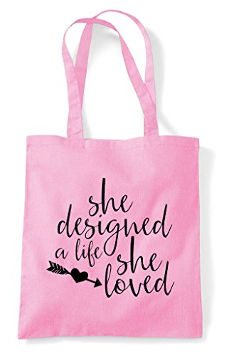 Life Loved Designed Light Statement Pink A Bag Shopper She Tote 7FEnt6FWO