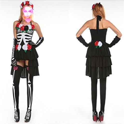 GRyiyi Women Skull Skeleton Vampire Ghost Bride Witch Cosplay Costume