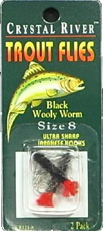 - Crystal River Black Wooly Worm CR121-8 Flies Size 8/Ultra Sharp Hooks