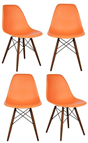 Cheap 4 X Ariel DSW Molded Orange Plastic Shell Chair with Dark Oak Eiffel Legs Set of 4