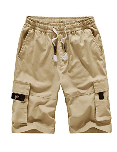 (APTRO Men's Cargo Shorts Relaxed Fit Multi-Pockets Casual Cotton Cargo Short Khaki XL)