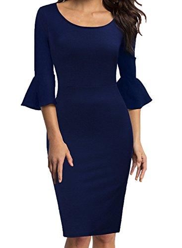 WOOSEA Womens Flounce Bell Sleeve Scoop Neck Office Work Casual Pencil Dress (Navy Blue, Large) (Fuschia Dresses)