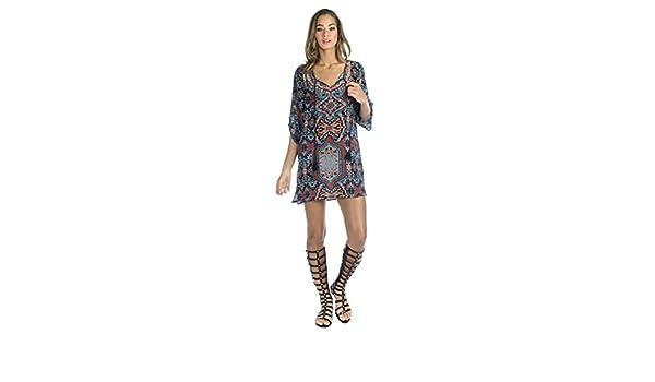 Amazoncom Tolani Tessa Black Floral Print Silk Tunic Top