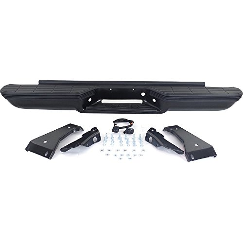 (Rear Step Bumper for GMC C/K 1500 P/U 88-1999 Assembly Powdercoated Black Steel with Impact Strip Holes And Oe Type Brkt Stepside)