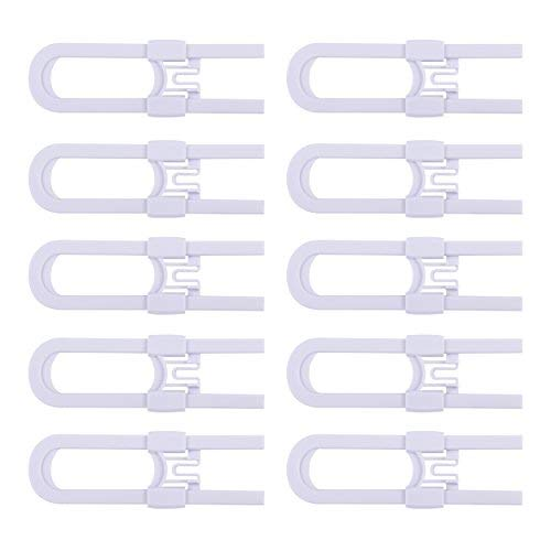 CUTESAFETY Sliding Cabinet Locks - Baby Proofing Cabinets with Adjustable Child Safety Lock - Childproof Latches for Knobs,Handles on Kitchen Doors,Storage Door,Cupboard,Closet,Dresser(10 Pack, White) CSP-002-White