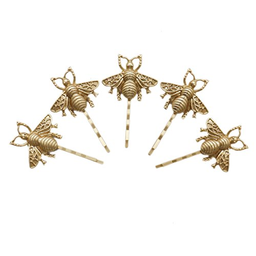 Buorsa 10 Pcs Golden Bee Hair Pins Hair Pins for Bride Honeybee Bobby Pins Wedding Accessories