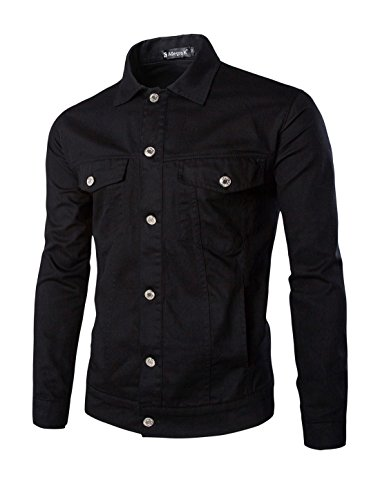 Allegra K Men Long Sleeves Single Breasted Front Casual Denim Jackets Black L
