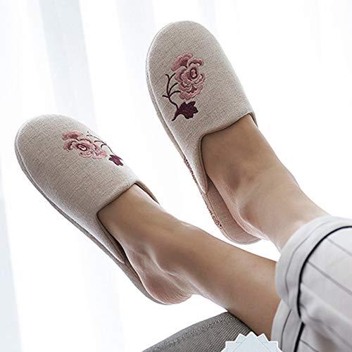 Ricamo Scarpe Morbido Fondo Lino Traspirante Squisito E Antiscivolo Cotone Delicato Pink Tingting Pink Ciabatte Pantofole Pattini colore Dimensioni 36 37 I5R1q