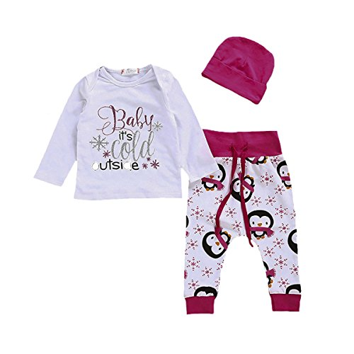 3Pcs Sets Baby Boy Girl Halloween Printed Long Sleeve Sweatshirts + Pants+Hat Outfit (12-18 Months, White)