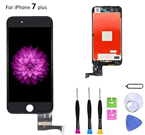 Screen Replacement Compatible with iPhone 7 Plus 5.5 Inch LCD - Compatible with iPhone 7 Plus 3D Touch Screen Display Repair Kit Assembly with Complete Repair Tools(Black)