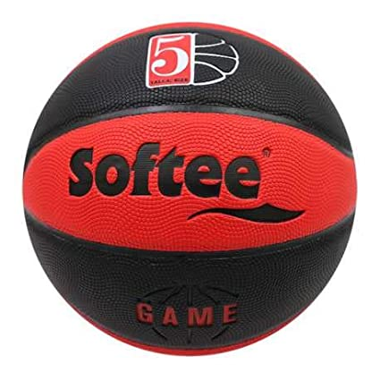 Balon Baloncesto Cuero Softee Game - Talla 5 - Color Negro Y Rojo ...