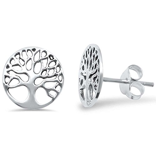 Sterling Silver Plain Round Tree of Life Studs Earrings