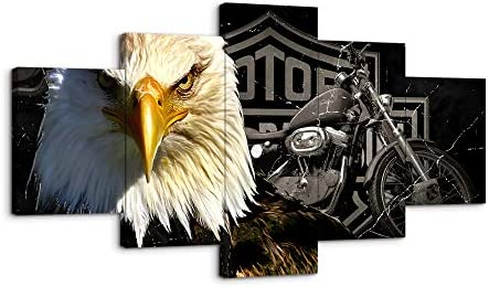 Bald Eagles Motorcycle Wall Art Paintings 5 Panel Large Vintage American Black and White Rustic Prints Posters Home Decor Decal Canvas Pictures Photo