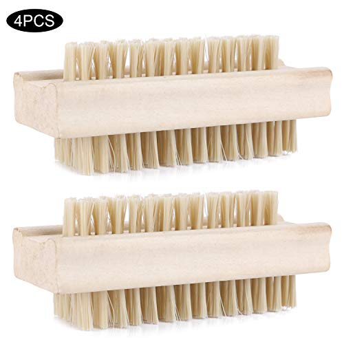 4 Pcs Non-Slip Wooden Nail Brush Fingernail Scrub Cleaning Brushes Double Sided Hand Scrubbing Cleaning Brush for Toes and Nails