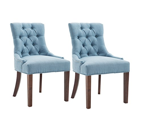 Fabric Dining Chair Upholstered Leisure Padded Chair with Armrest Per-Home, Nailed Trim, Accent Dining Chairs Set of 2 (Blue)