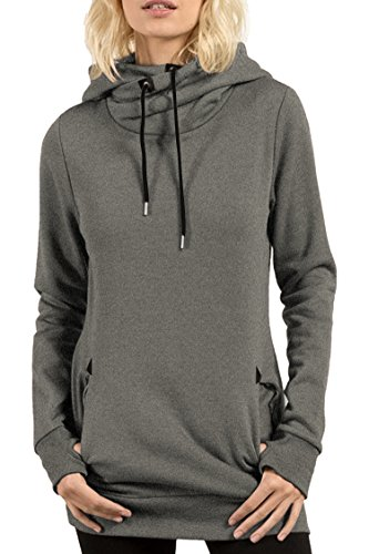 Cheap Kisscy Women's Draped Funnel Neck Kangaroo Pocket Front Hooded Sweatshirt Pullover Hoodies free shipping