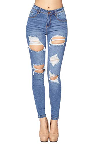 Blue Age Women's Destroyed Skinny Jeans Stretch Denim (JP1081_LT_3)