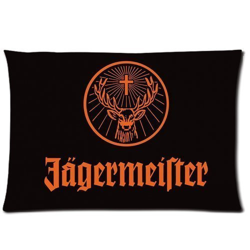 Poesia Custom Rectangle Pillowcase Jagermeister Logo Standard Size 20*30Inch