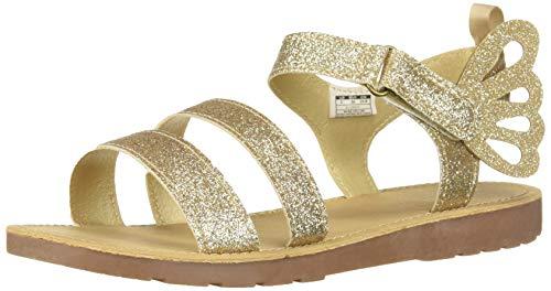 carter's Girls' Eliza Glittery Butterfly Sandal, Gold, 6 M US Toddler