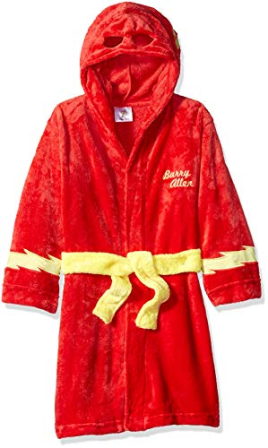 DC Comics Boys' Big Superhero Plush Velvet Fleece Robe, Flash Small -