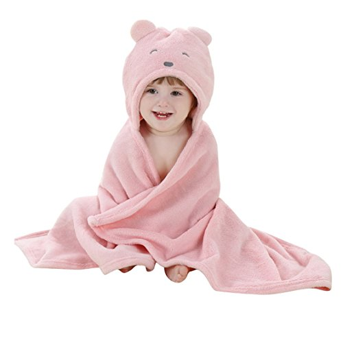 HappyCherry Baby Cute Bear Flannel Blanket Furry Hoodie Bath Robe Pink (Bears Care Blanket)