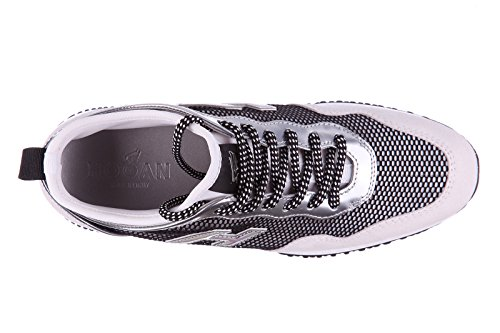 Hogan chaussures baskets sneakers femme en daim interactive lycra h flock argent