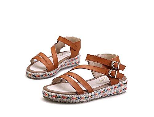 de Estilo Verano tamaño Romano Estudiante Zapatos para de Plano Zapatos DANDANJIE de Hierba Gran Sandalias caseros Zapatos Zapatos tacón Sandalias de Marrón Mujer qHz00nWt6