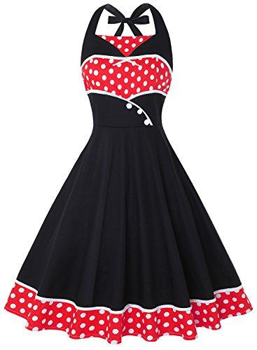 IHOT Women's Rockabilly 50s Vintage Polka Dots Halter Cocktail Swing Dress (XL, Red Polka Dot)