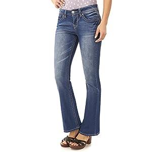 WallFlower Women's Juniors Basic Legendary Stretch Bootcut Denim Jeans