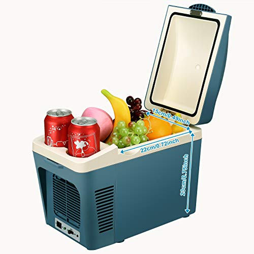 SUAOKI Portable Car Fridge Electric Cooler and Warmer 12V for Truck Boat Party Travel Picnic Outdoor, 7 Quart / 9 Can Capacity (Blue)