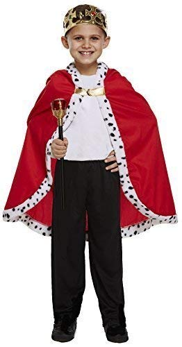 Child's Boys Girls Royal Cloak Cape King Queen World Book Day Historical Figure Fancy Dress Costume Outfit -