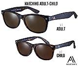 Ali&Alex Adult + Junior Matching Pairs - Classie Square Frame Matte Tortoise/Polarized Brown UV Polarized Designer Sunglasses