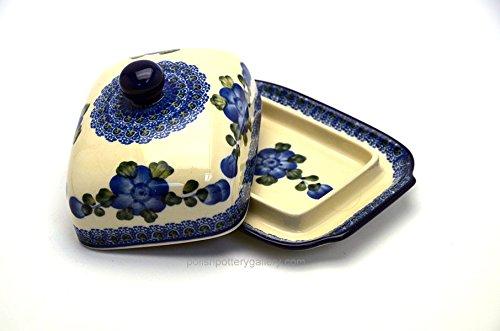 Polish Pottery Butter Dish - Blue Poppy