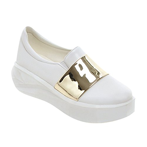 Latasa Womens Fashion Platform Comfort Slip on Loafers Shoes White+gold