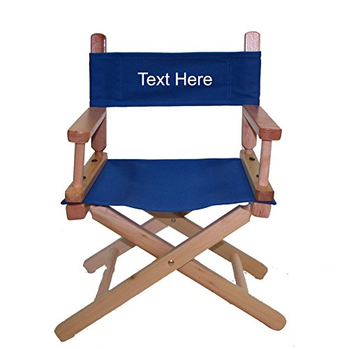 (PERSONALIZED EMBROIDERED Natural Frame Toddler's Directors Chair by Gold Medal - Royal Blue)